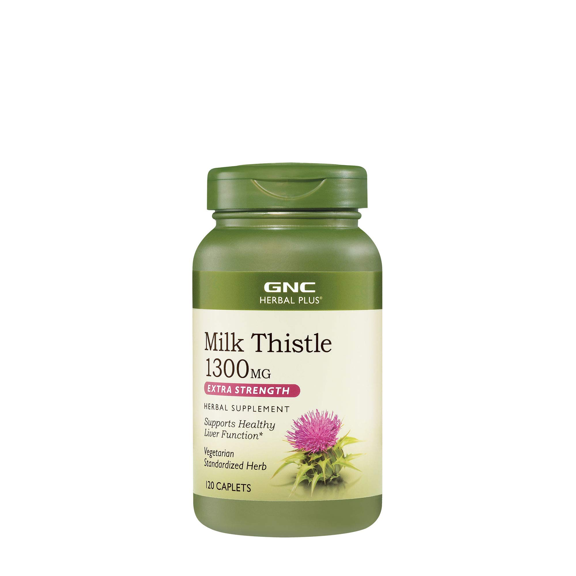 GNC Herbal Plus Milk Thistle 1300mg, 120 Caplets, Healthy Liver Function
