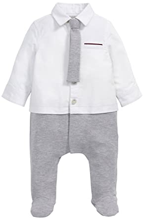 Mamas & Papas Mock Shirt & Tie Outfit All-In-One, Pelele ...