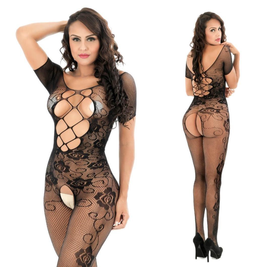 56438f1818 Amazon.com  Women Sexy Lingerie Daoroka Ladies Full Body Open Crotch  Fishnet Babydoll Bodystocking Floral See-through Underwear Pajama (Free