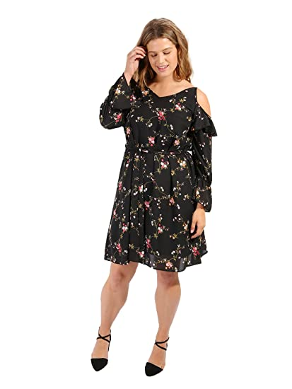 344697a2a75b8 Lovedrobe GB Womens Plus Size Black Floral Print Cold Shoulder Dress with  Frill Shoulder Detail (14)  Amazon.co.uk  Clothing