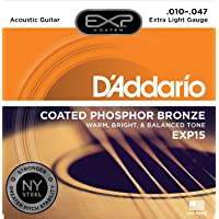 D'Addario EXP15 - Juego de Cuerdas para Guitarra Acústica de Fósforo/Bronce.010 - .047, Naranja