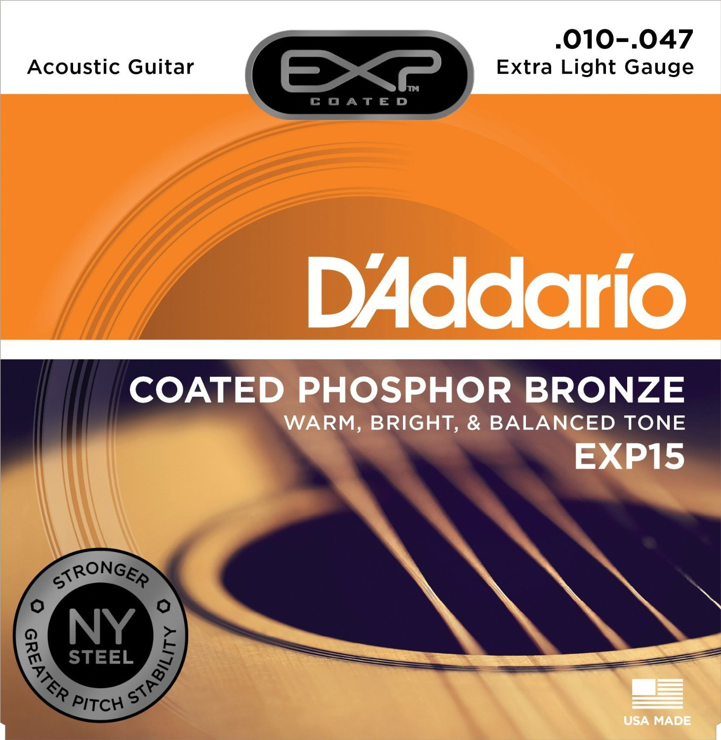 D'Addario EXP15 with NY Steel Phosphor Bronze Acoustic Guitar Strings, Coated, Extra Light, 10-47 D'Addario &Co. Inc