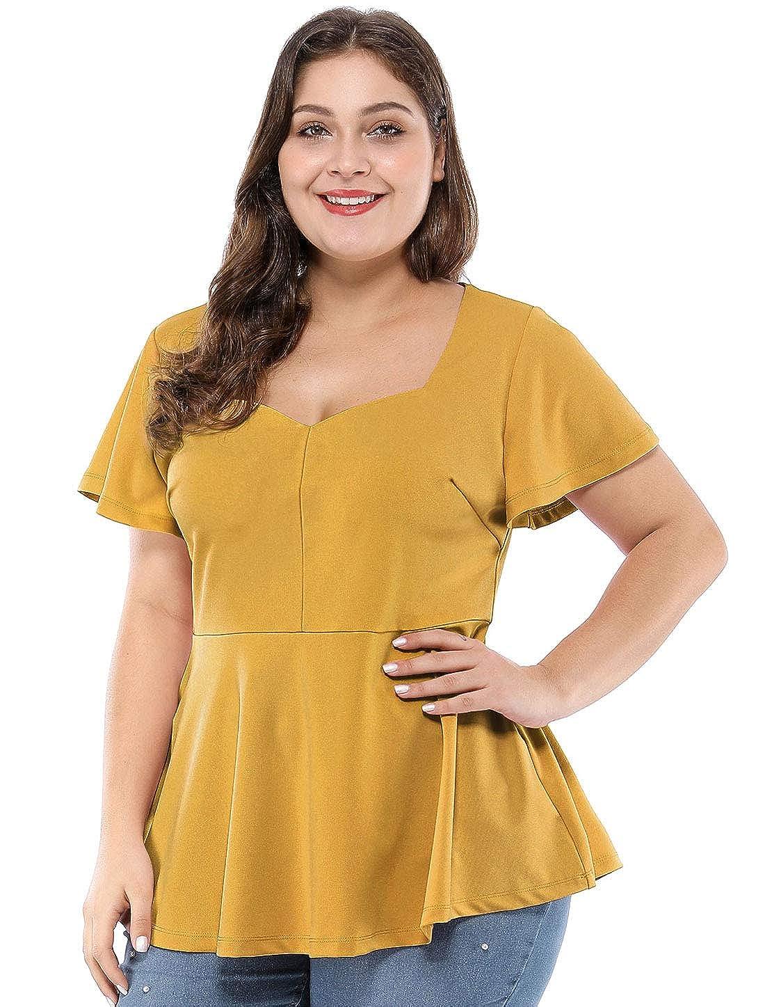 60d3e212 Agnes Orinda Women's Plus Size Ruffle Sleeves Sweetheart Peplum Top:  Amazon.ca: Clothing & Accessories