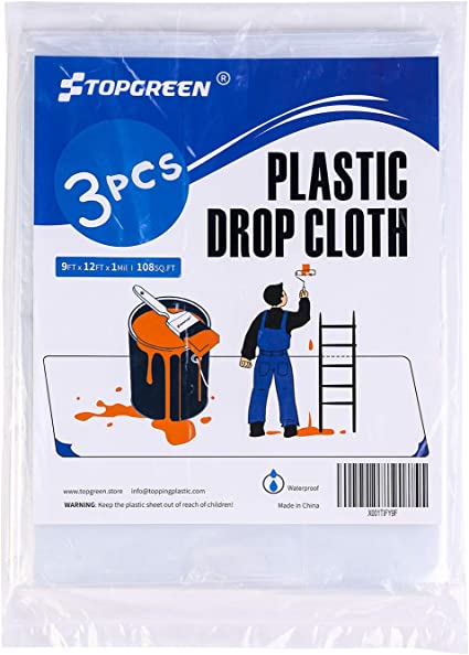 TOPGREEN Pack Plastic Drop Cloth
