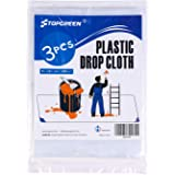 TOPGREEN 3 Pack Plastic Drop Cloth 9 Feet by 12 Feet Clear Tarp Drop Sheet Plastic Painting Tarp Patio Drop Sheeting Furniture Cover Plastic Moving Covers for Painting Protection