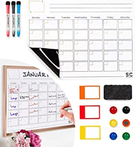 Magnetic Dry Erase Calendar and Weekly Planner. Whiteboard Calendar with 3 Magnetic Erasable Markers, 1 Duster Eraser & 3 Small Magnetic Photo Frame — Magnetic Calendar for Refrigerator