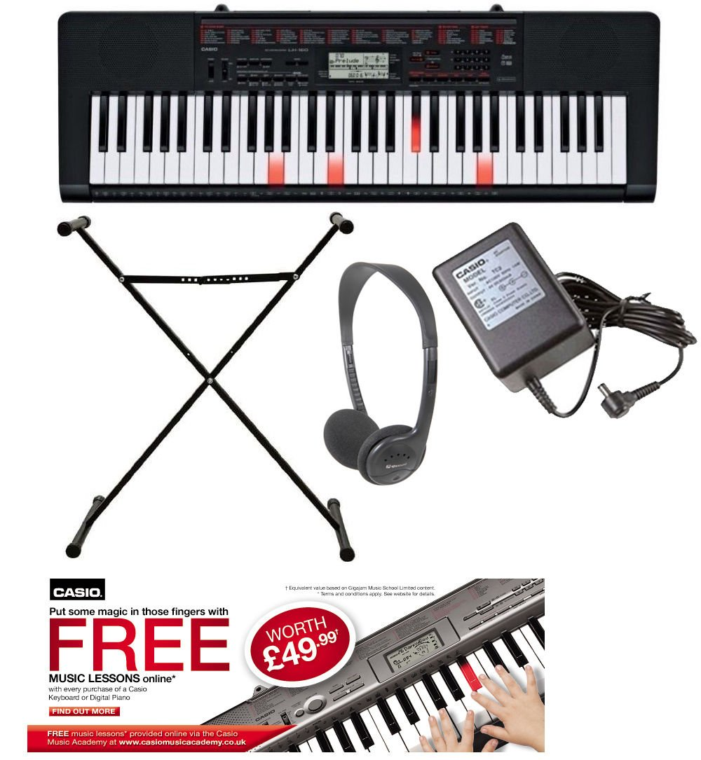 casio lk160 keyboard pack with light up keys amazon co uk musical