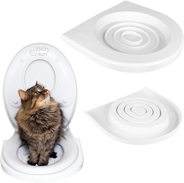 4BIG.fun Asiento de inodoro con sistema de entrenamiento para gatos