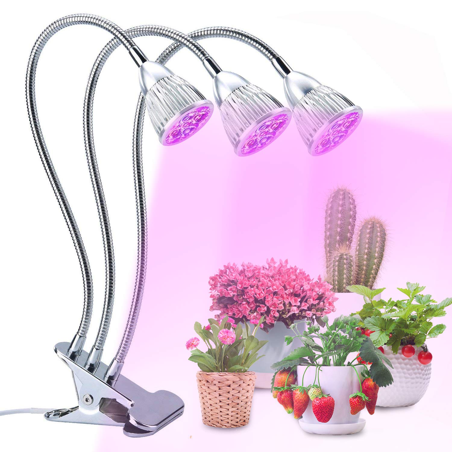Led Grow Light, Lovebay Three Head Grow Lamp Clip on Plant Light with Flexible 360 Degree Gooseneck and 3 Work Modes for Indoor Plants Hydroponics Greenhouse Organic Office Home