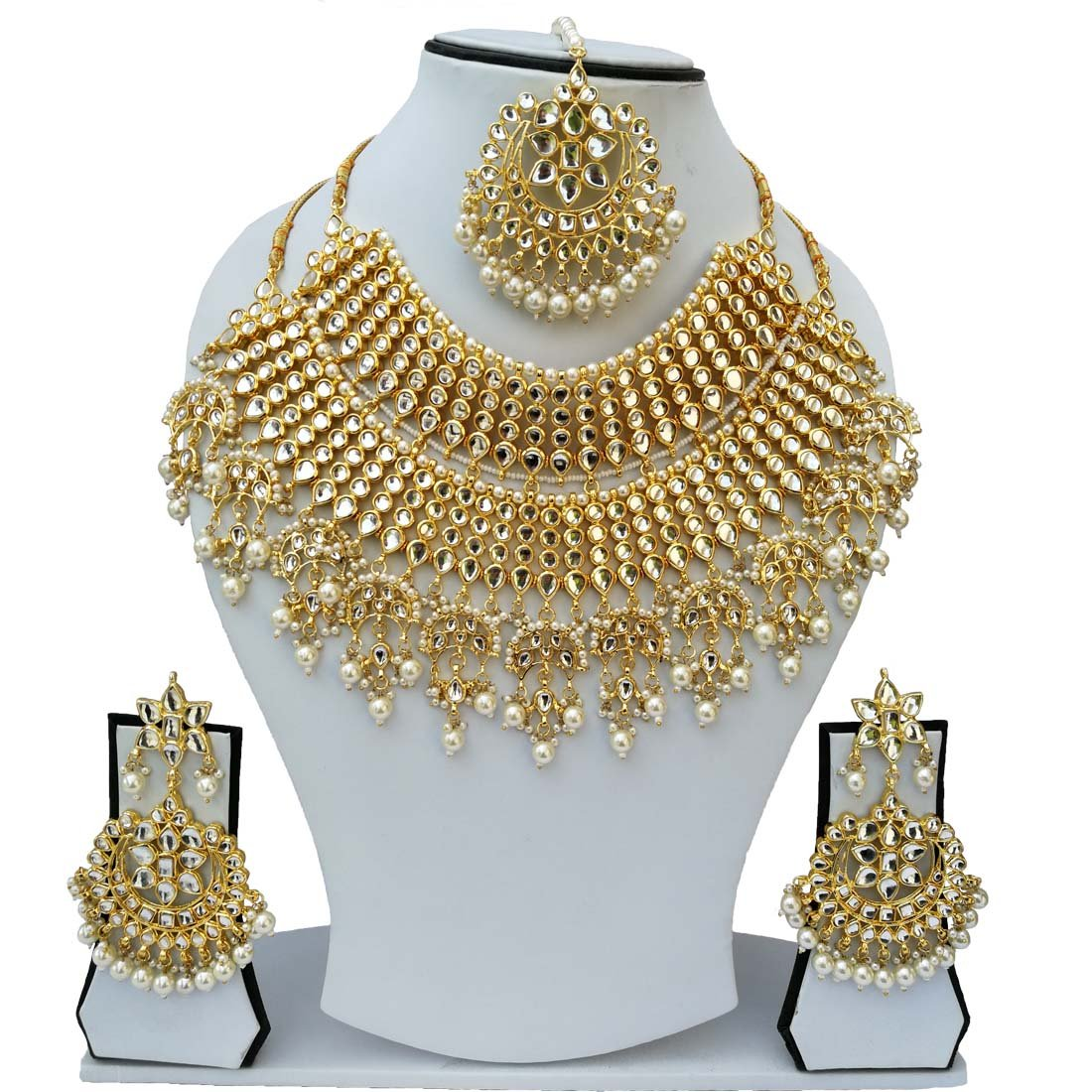 Fkraft Kundan Gold Plated Latest Wedding Necklace Jewelry Set for Women Self Handmade FMK-WHT025