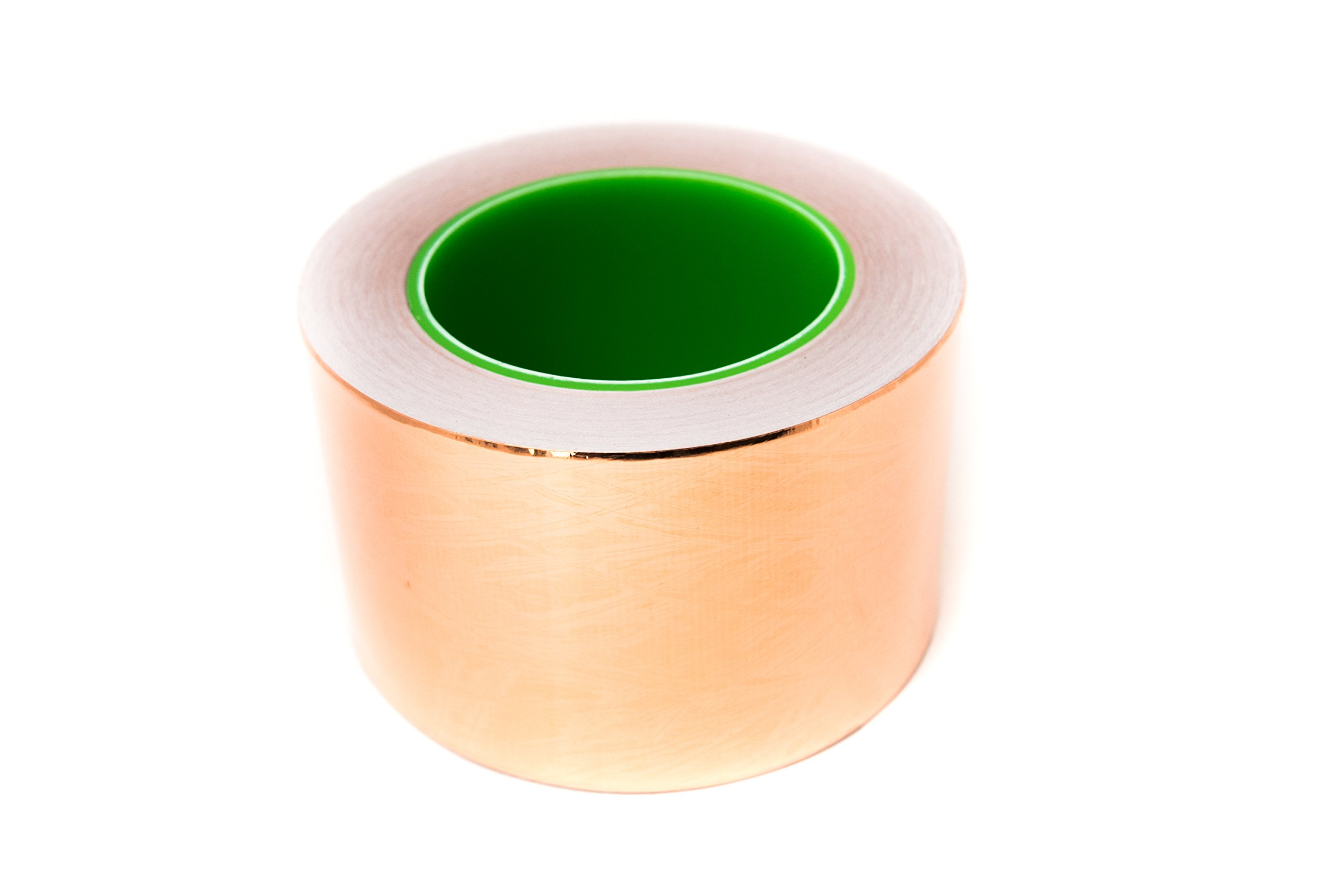 Bertech Copper Conductive Tape, 4'' Wide x 36 Yards Long, 2.75 mil Thick on a 3'' Core - For Slug Repellent, EMI Shielding, Electrical Repairs