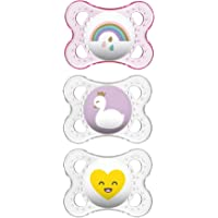 MAM Pacifiers, Baby Pacifier 0-6 Months, Best Pacifier for Breastfed Babies, 'Clear' Design Collection, Girl, 3-Count