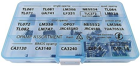 Opamp Assortment 56 pcs, incl  Sockets, single dual adapter TL061 TL071  TL081 UA71 LM308 LF351 NE5534 TL084 LM324 TL072 TL082 LM358 LM747 OP07