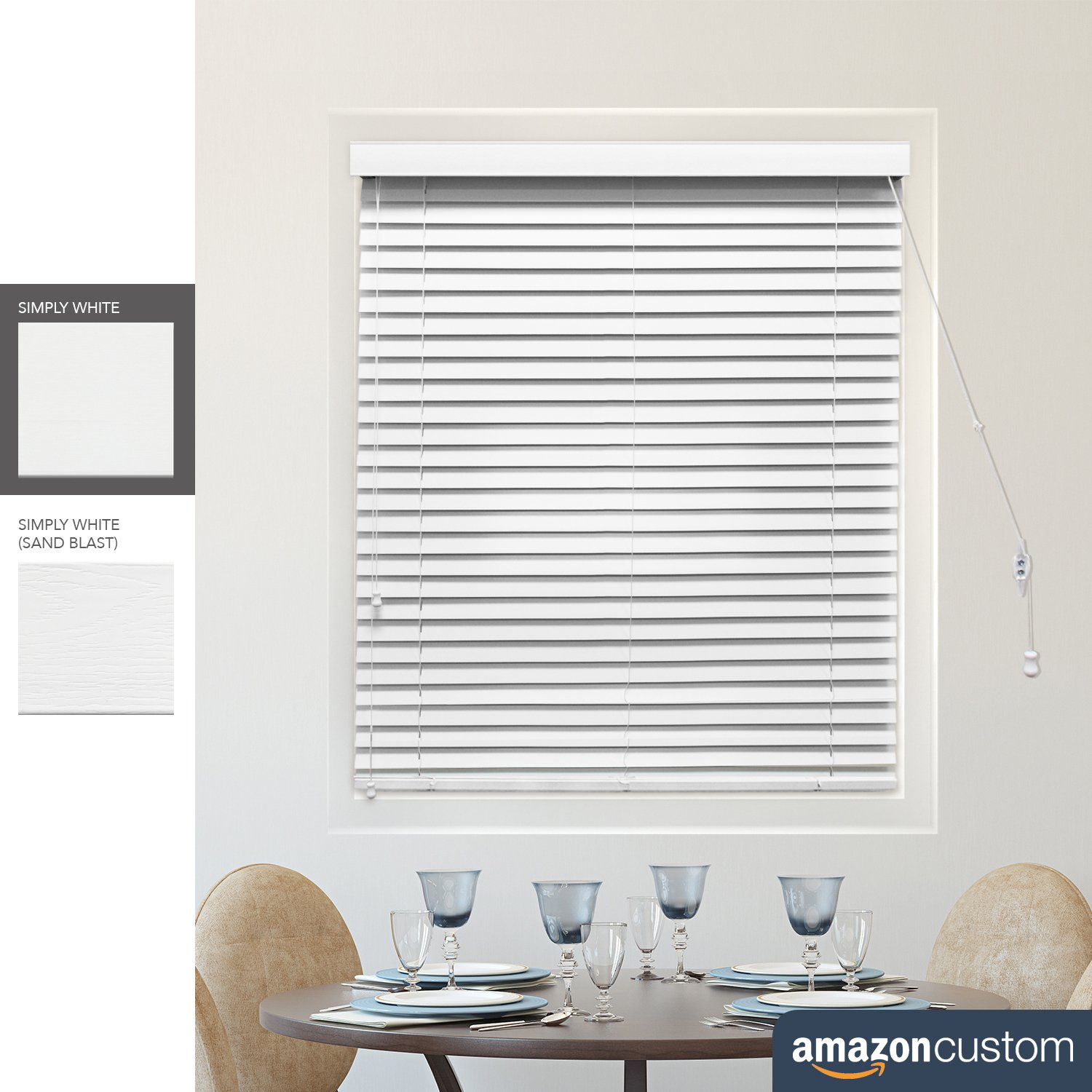 CHICOLOGY Custom Made Faux Wood Venetian 2-in. Slat Blinds, Simply White. W:31-36 in, H:48-60 in