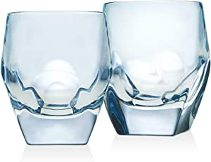 Godinger Old Fashioned Glasses, Beverage Glass Cups - Blue, Set of 2