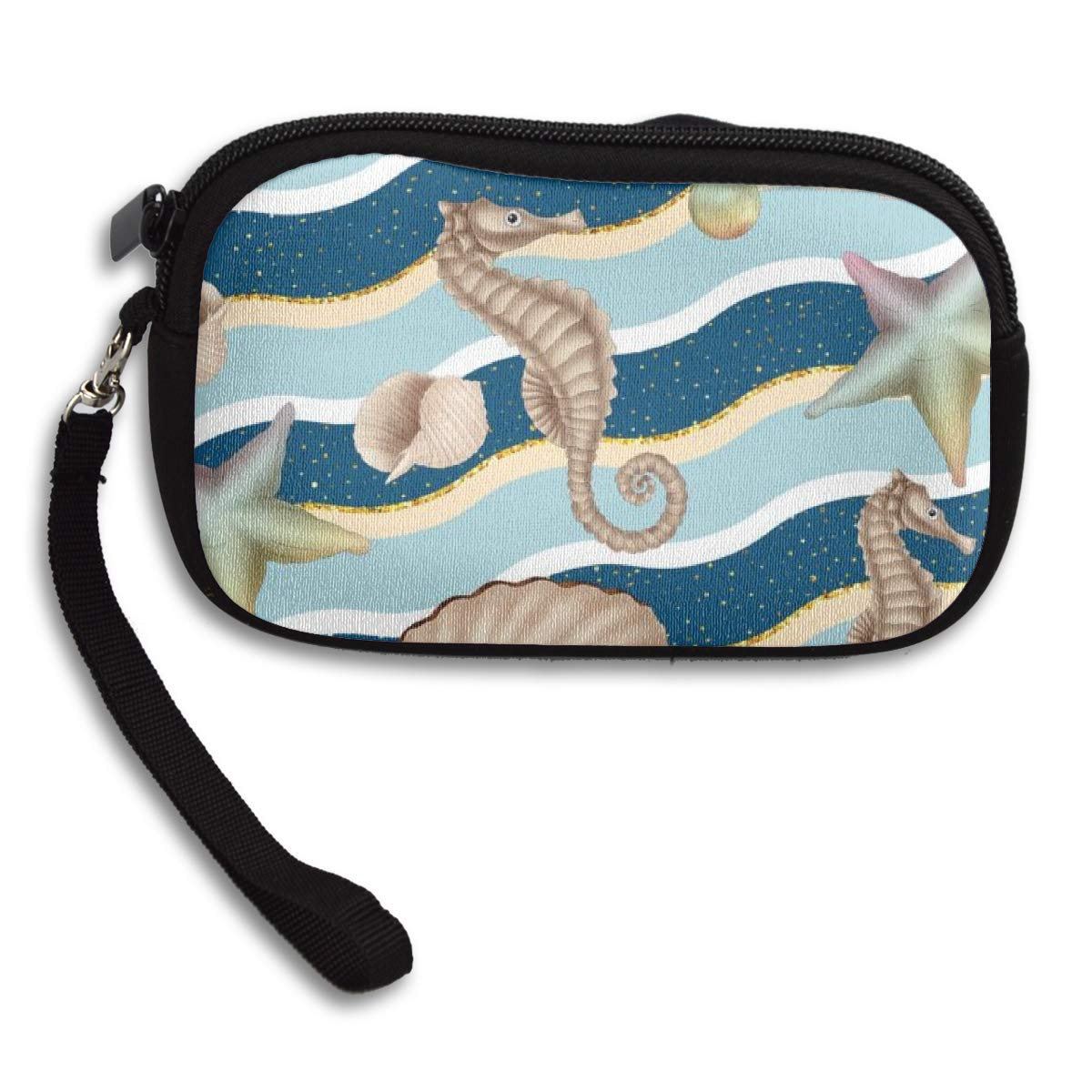 Bubble Hippocampus Starfish Pearl Mussel Sea Coin Pouch Clutch Purse Wristlet Wallet Phone Card Holder Handbag