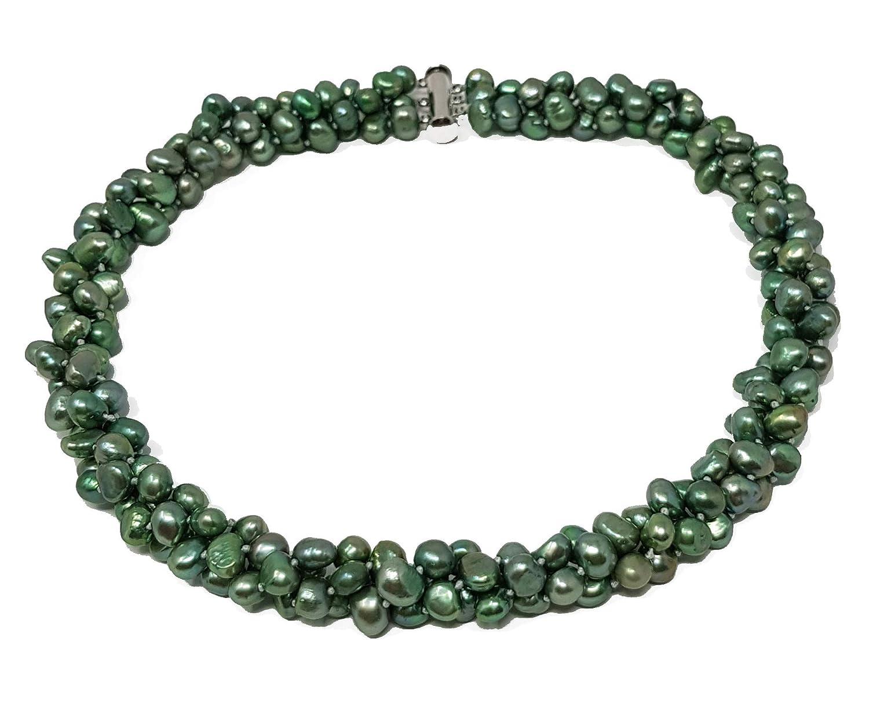 09b641c427de TreasureBay chapado en plata barroca Perlas agua dulce Pearl  Amazon.es   Joyería