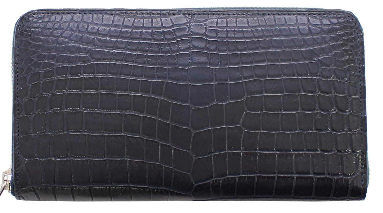 クロコダイル ラウンドファスナー長財布 日本製 ワニ革財布 メンズ財布 BAMBI B07PB7HW2W ブラック