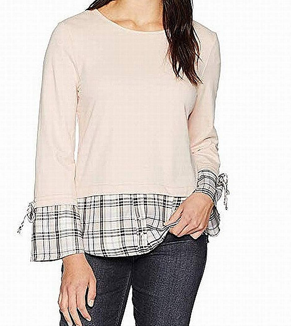 df35bcf2ae3 ALEXANDER JORDAN Women's Long Sleeve Twofer Front Terry Blush w/Plaid Tie  Sleeve Blush Small at Amazon Women's Clothing store:
