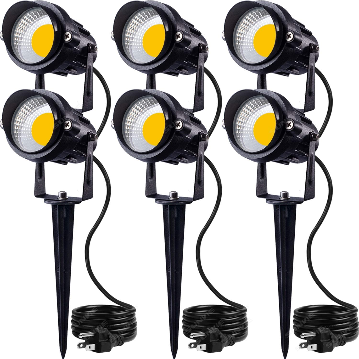 SUNVIE LED Outdoor Spotlight 12W Landscape Lighting 120V AC Waterproof Landscape Lights Spot Lights for Yard with Spiked Stake Warm White Flag Lights Garden Decorative Lamp with US 3-Plug in (6 Pack)