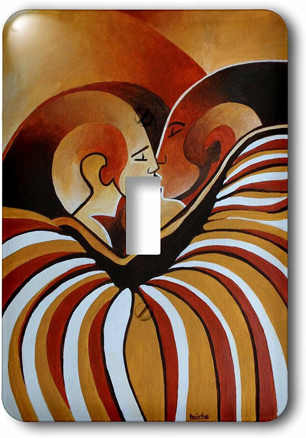 3D Rose LSP/_128358/_1 Touched by Africa African Themed Art of A Man Woman Kissing in Love Wall Light Switches