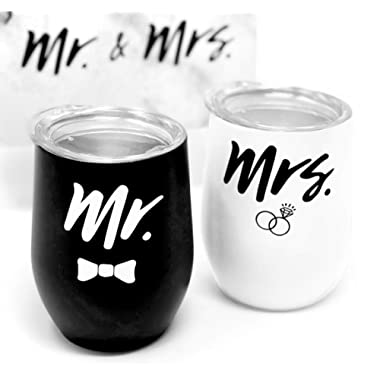 Engagement Drink Tumbler Gift Box Set - Stemless Mr and Mrs Coffee Wine Cup Glass for Engaged Newlywed Couples - For Weddings Bridal Showers Engagement Party - Two 12oz Insulated Stainless Steel