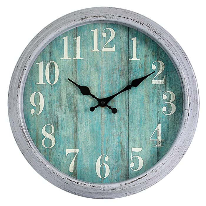 HYLANDA 12 Inch Retro Vintage Round Teal Wall Clock, Silent Wall Clocks Battery Operated Non Ticking Decorative for Kitchen Home Living Room Office Bathroom(Gray)