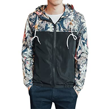 Amazon.com: mofgr moda casual con capucha chamarra floral ...
