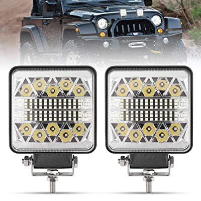 4 Inch LED Work Lights - 2Pcs 8000LM LED Pods - CREE LED Spot Flood Combo Beam Light Bar - Driving Light for Truck ATV UTV SUV Boat Tractor, 1 Year Warranty: Automotive