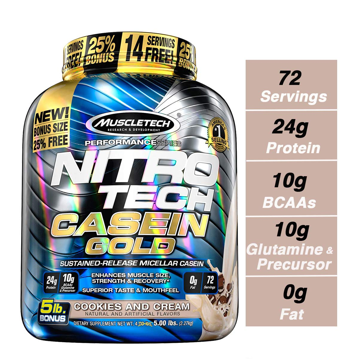 MuscleTech NitroTech Casein Gold Protein Powder, Sustained-Release Micellar Casein, Cookies Cream, 5lbs