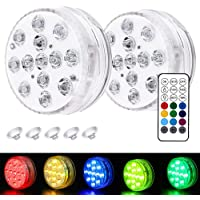 Goblinaduo Submersible LED Lights, Under Water Lights with Remote Control, Suction Cup Pond Lights for Pool, Bathtub…