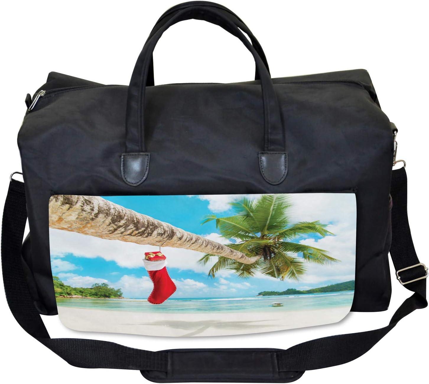Ambesonne Christmas Gym Bag Beach Xmas Stockings Large Weekender Carry-on