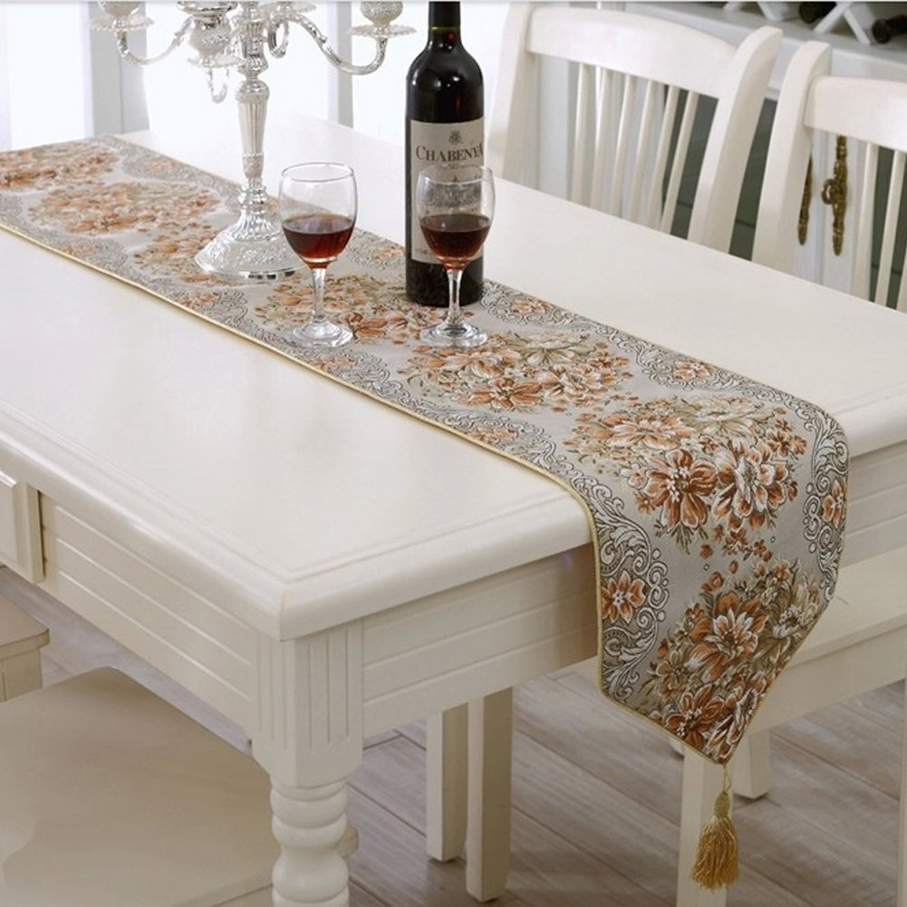 Milesky embroidery dining table runner classic european for 102 inch table runners