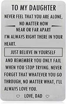 Amazon Com Gifts For Daughter From Dad To My Daughter Engraved Wallet Card Inserts With Inspirational Quotes Christmas Birthday Graduation Gift Ideas Office Products