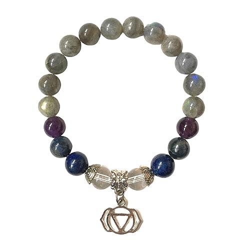 HANDMADE THIRD EYE CHAKRA Yoga DUO Bracelet Natural Gemstones Labradorite Silver Accents Stretchy
