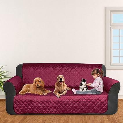 laamei Cubre para Sofá de 3 Plazas con Reposabrazos Antideslizante Protector para Sofás Muebles Acolchado contra Mascotas, Polvo y Manchas (3 Plazas, ...
