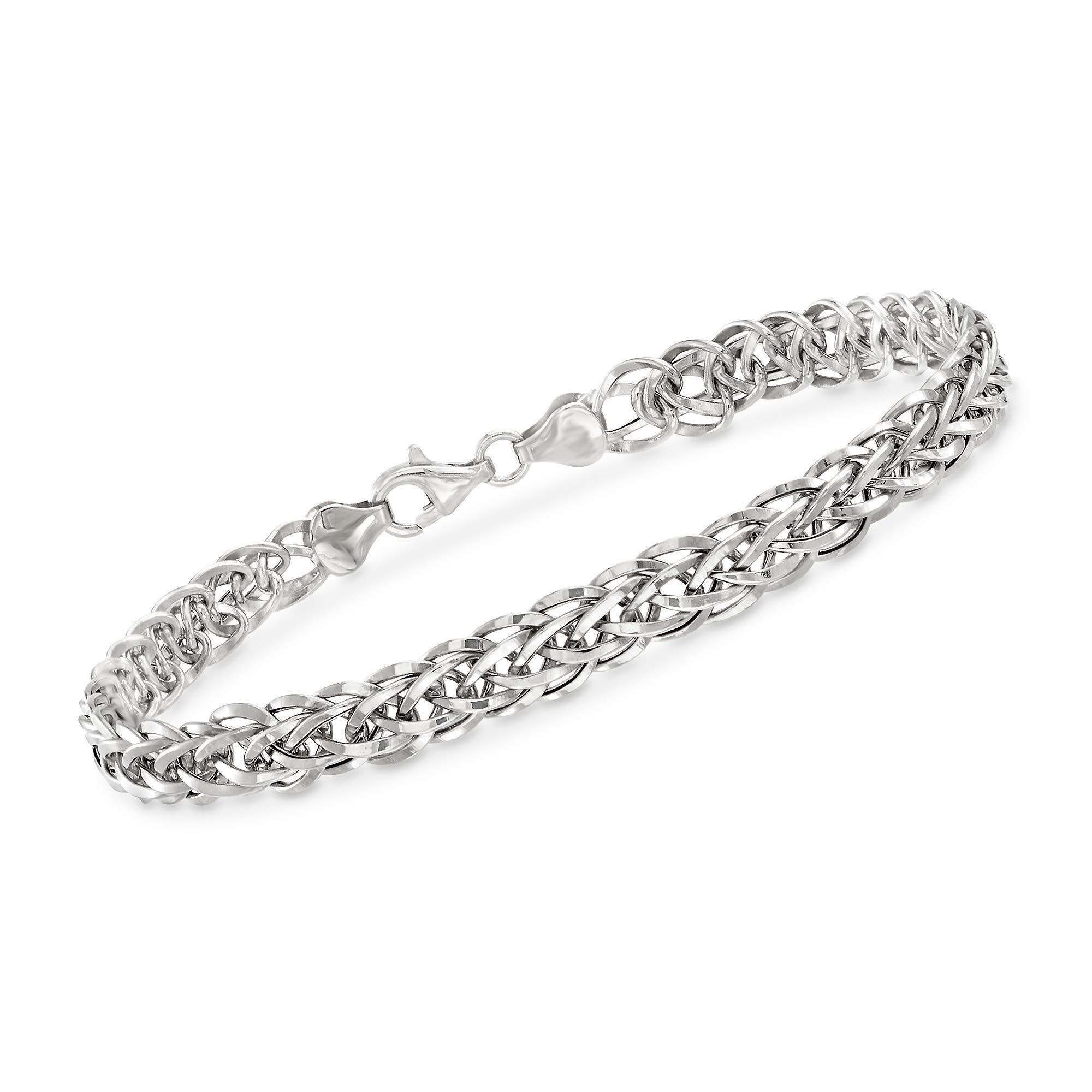 Ross-Simons 18kt White Gold Wheat-Link Bracelet
