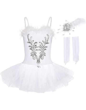 inlzdz Vestido Largo de Danza Ballet para Ni/ñas Mailot de Danza L/írica Contemporanea Body de Baile sin Manga Cuello Halter Disfraz Bailarina de Flamenco Baile Latino