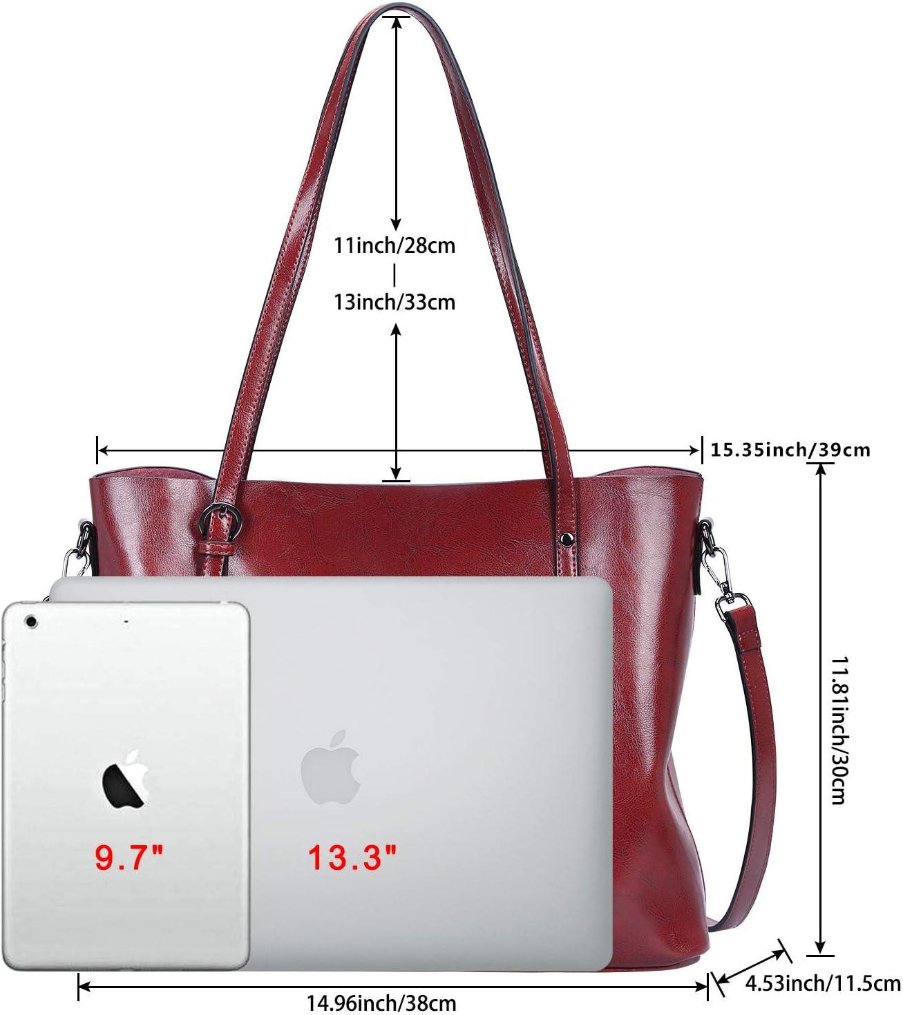 S-ZONE Womens Vintage 3-Way Genuine Leather Tote Shoulder Bag Handbag Fashion Handbag Messenger Bag