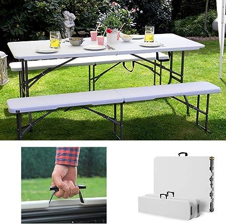 Ziigo Ensemble Table Pliante Portable Et 2 Bancs Jardin Pliables Camping