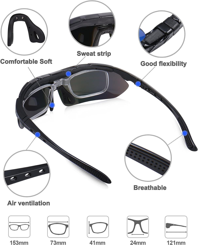 MTB e Running Occhiali Ciclismo Polarizzati KuKoTi con 5 Lenti Intercambiabili Occhiali Bici Antivento e Antiappannamento Occhiali Sportivi da Sole Anti UV da Uomo Donna per Corsa