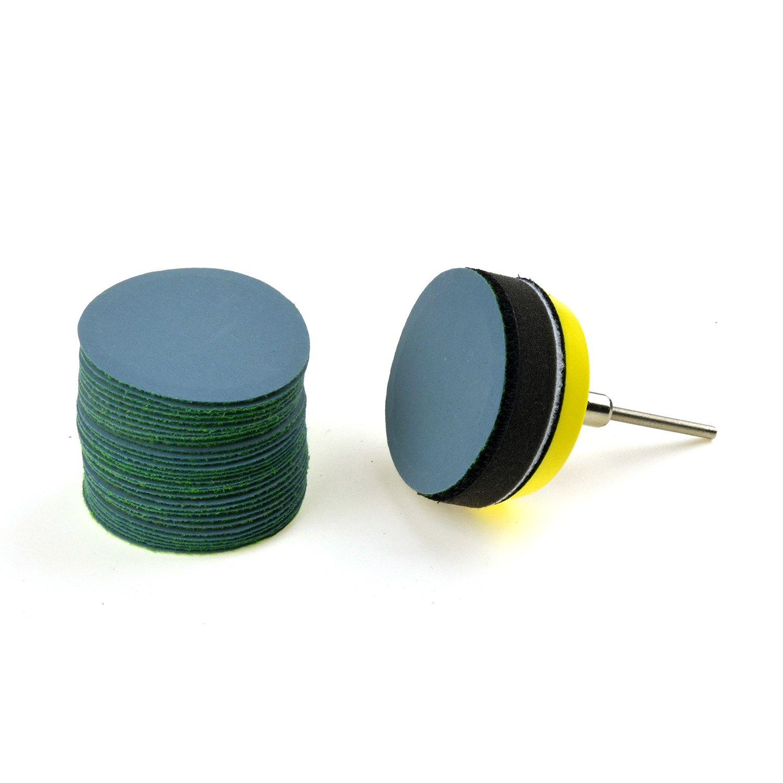 Waterproof Soft Sponge Cushion Interface Buffer Pad 30 Discs 2-Inch 3000 Grit Aluminum Oxide Fine Wet//Dry Hook and Loop Sanding Discs 1//8 Shank Backing Pad
