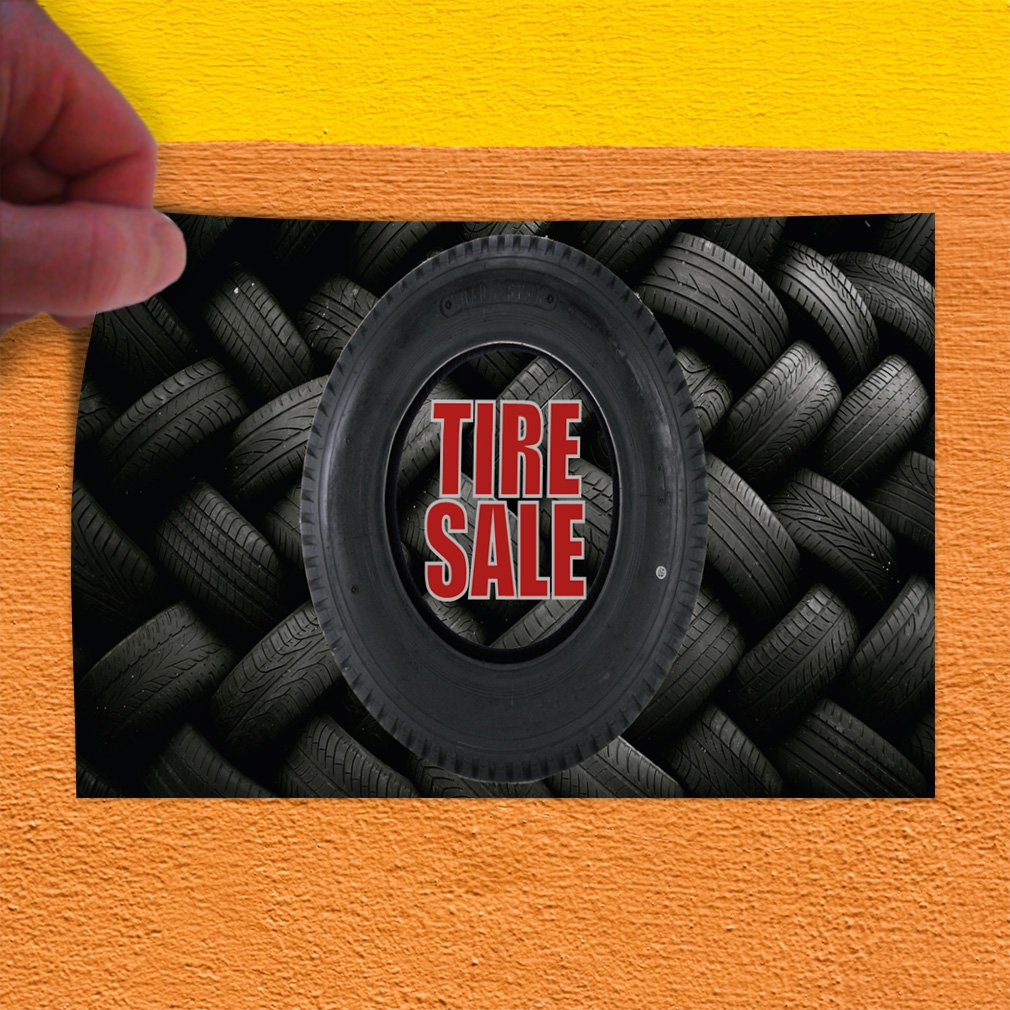 Decal Sticker Multiple Sizes Tire Sale #1 Style B Automotive Tire Sale Outdoor Store Sign Black Set of 2 54inx36in