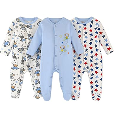 52e207607 Amazon.com  Infant Baby Girls Boys Footed Sleepsuit 100% Cotton ...