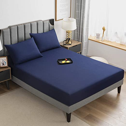 Amazon Com Allo King Size Fitted Sheet Navy Brushed Microfiber