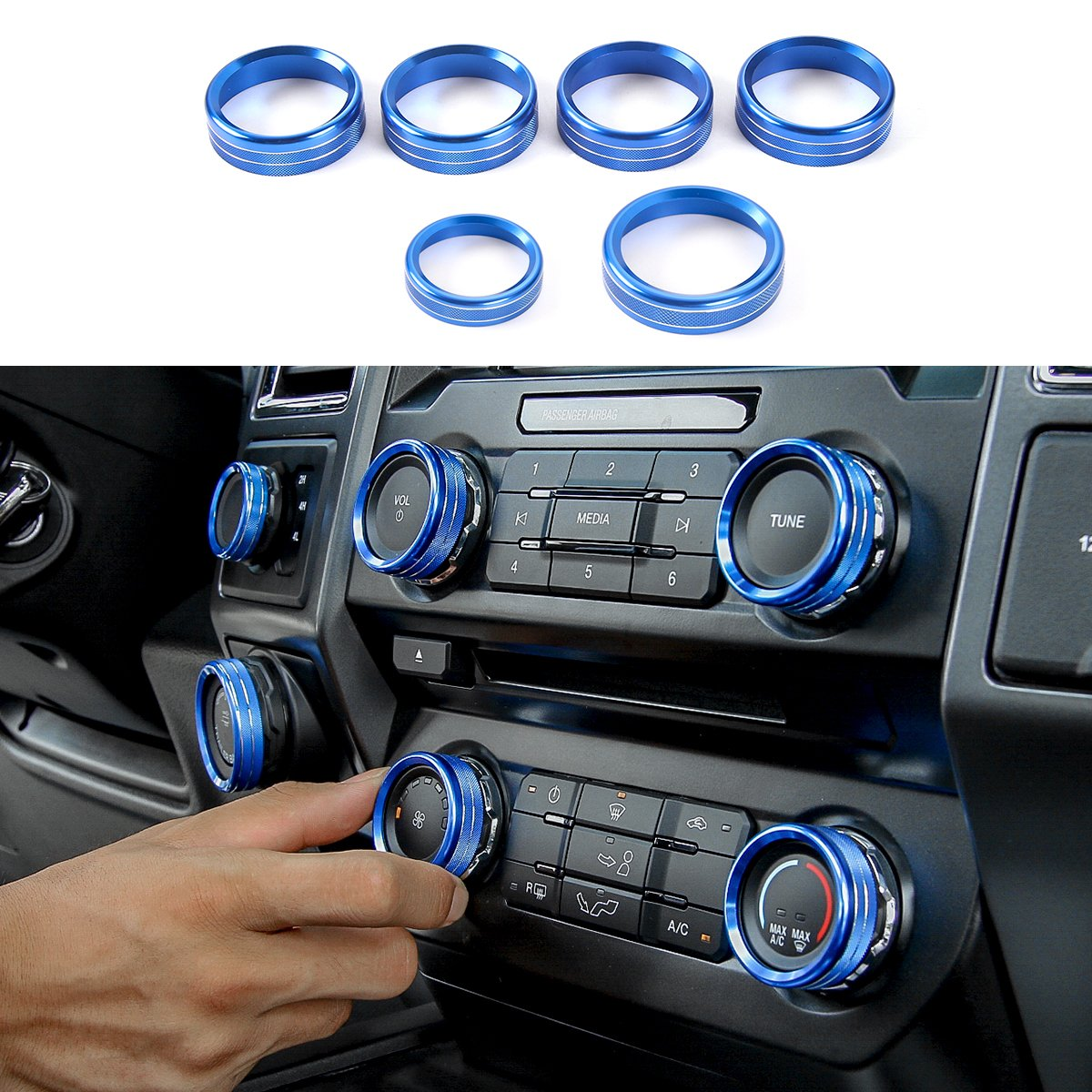 Thenice 6pcs Aluminum Alloy Air Conditioner & Audio & Trailer & 4x4 Switch Knob Ring Console Button Cover Trim Bezel for Ford F150 XLT 2016 2017(Blue)
