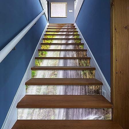 TtKj Pegatinas de escaleras Casa Decor 3D Paisaje Pared Pegatinas Escalera ecológica Etiqueta Piezas de 100 * 18 cm: Amazon.es: Hogar