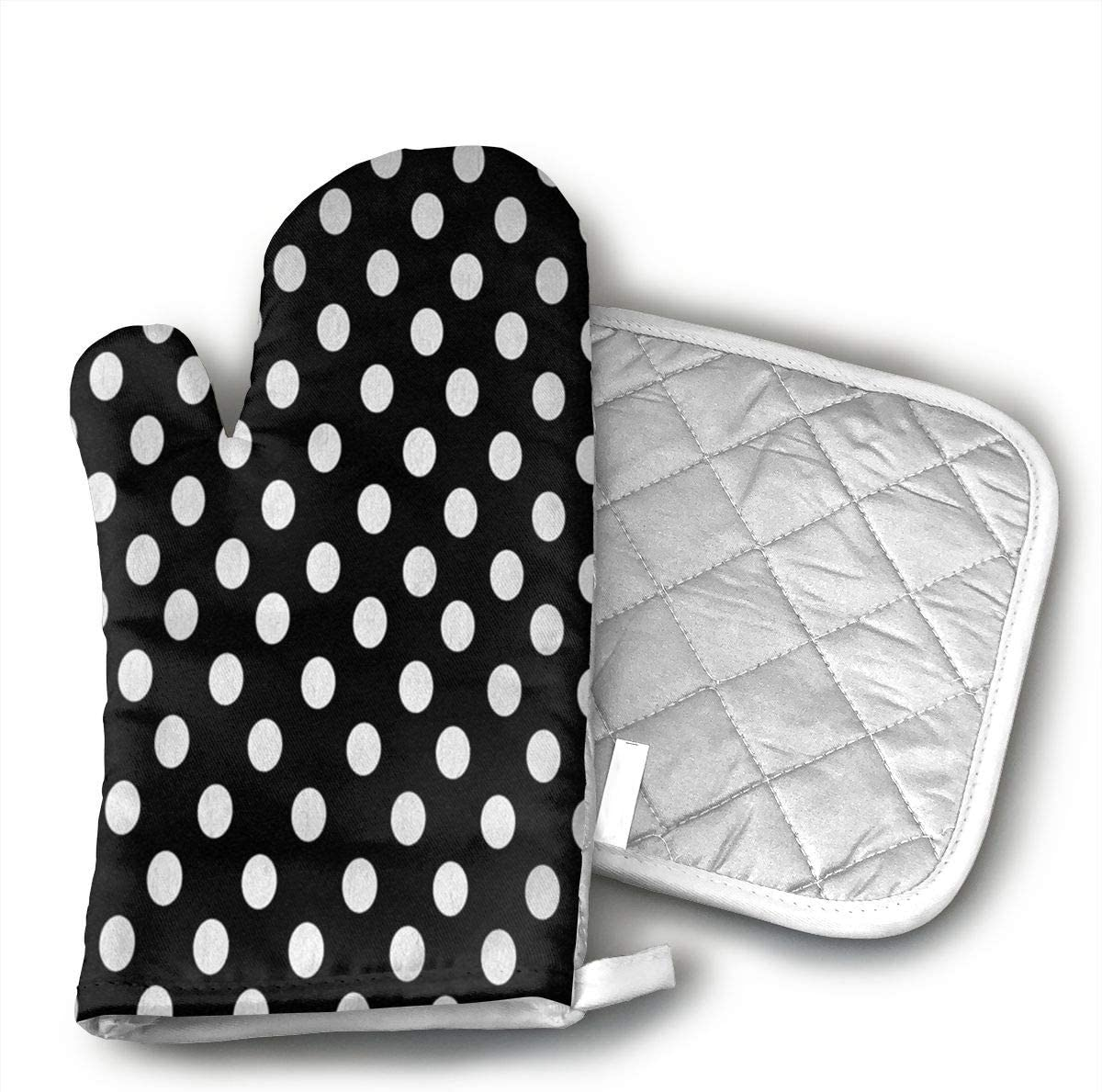 SJFDFjg Polka Dot Designs White Polka Dots On Classy Black Heat Resistant Oven and BBQ Gloves Mitts Cotton Pot Holders Non Slip Oven Gloves for Kitchen,Grilling Machine,Cooking Baking Grilling.