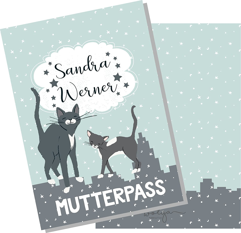 wolga-kreativ Mutterpassh/ülle sch/öne Katze 3-teilig Schwangerschaft Geschenk Idee Umschlag ohne Namen