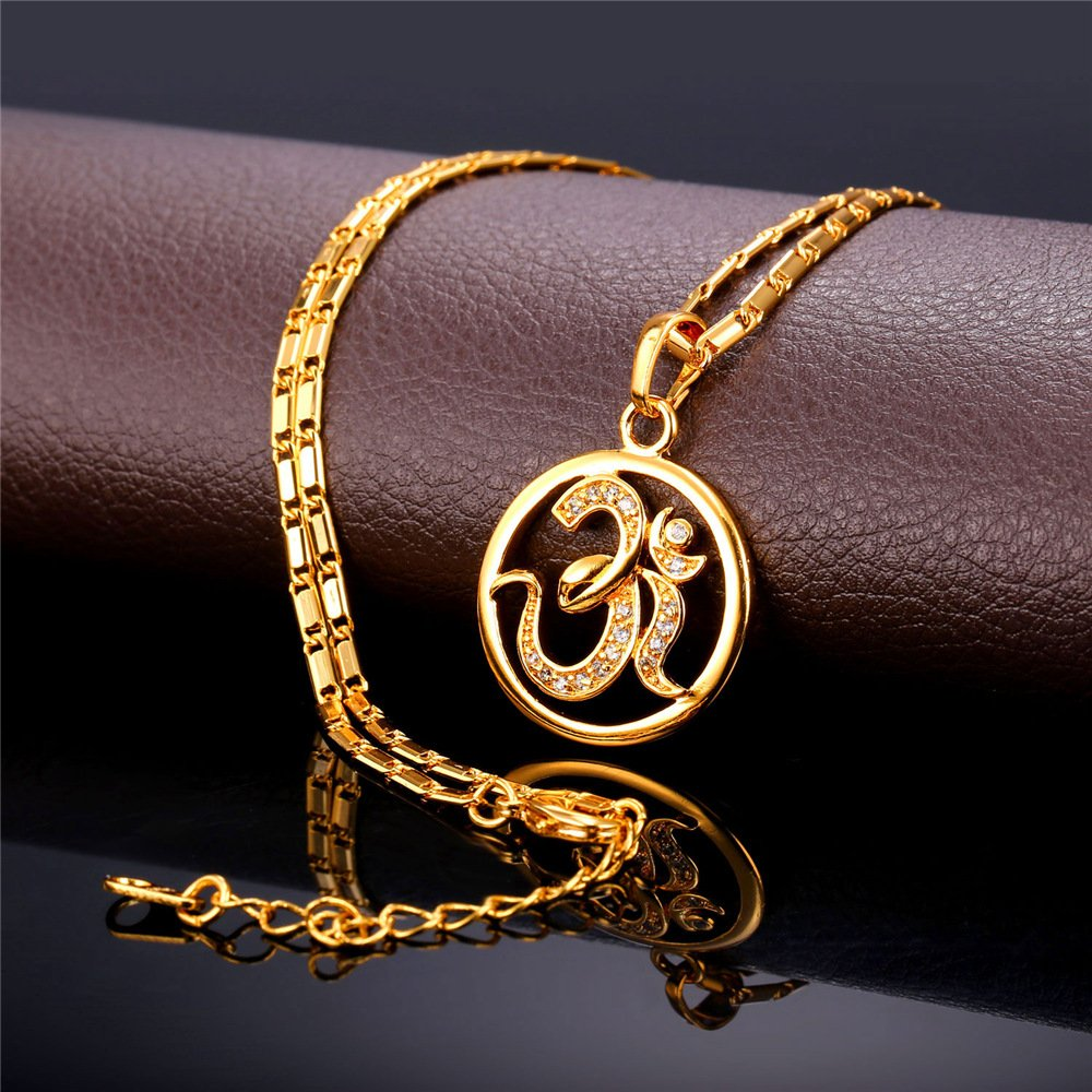 U7 Brand AUM OM Pendant Charm Necklace India Hinduism Jewelry 18K Gold Plated Amulet Necklace by U7 (Image #6)